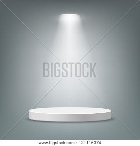 Illuminated round pedestal.