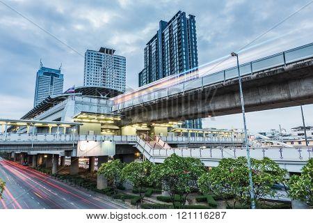 Bangkok Metro Station Of Light Trails