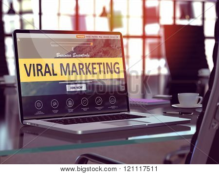 Viral Marketing Concept on Laptop Screen.