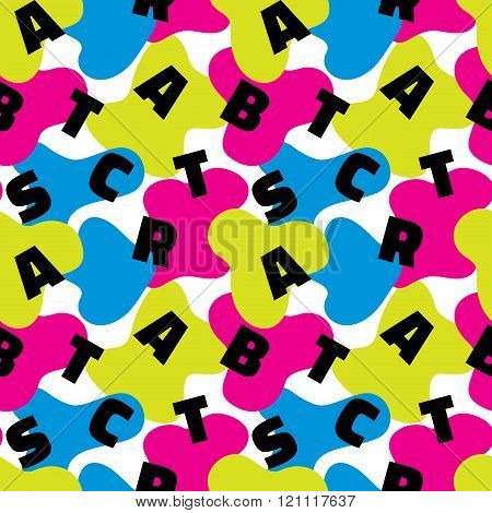 Abstract background vector seamless pattern in fashion retro style of Memphis italian design group.