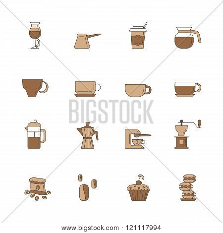 Set of 16 linear and colorful coffee icons included coffee cups, coffee machine, coffee, a bag of co