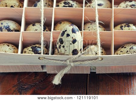 Quail Egg In Wooden Box, Packaging, Tray