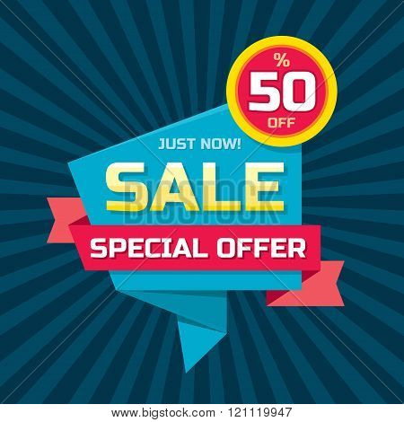 Sale abstract vector origami banner - special offer 50% off. Sale vector banner.
