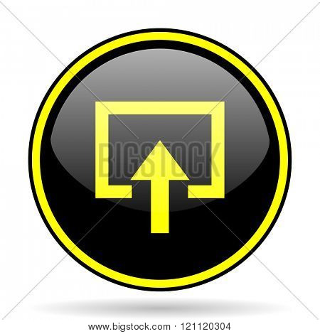 enter black and yellow modern glossy web icon