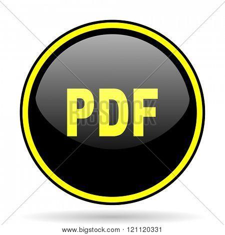 pdf black and yellow modern glossy web icon