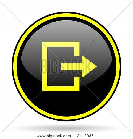 exit black and yellow modern glossy web icon