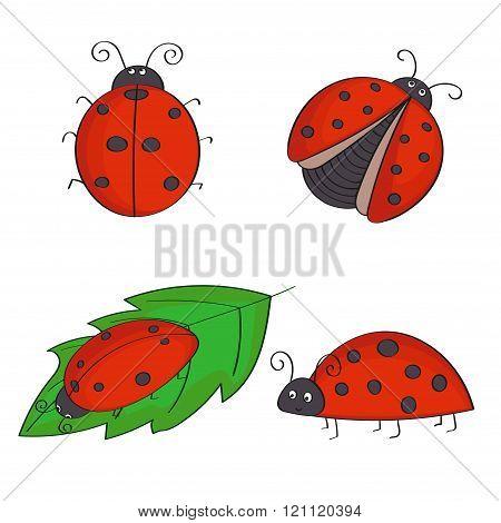 Set of hand drawn ladybugs.