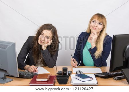 The Situation In The Office - Two Women Dreaming, Sitting At A Desk