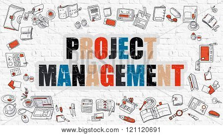 Project Management in Multicolor. Doodle Design.