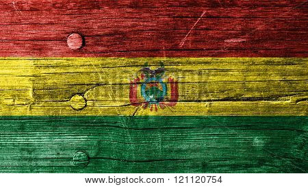 Flag of Bolivia, Bolivian flag painted on wood