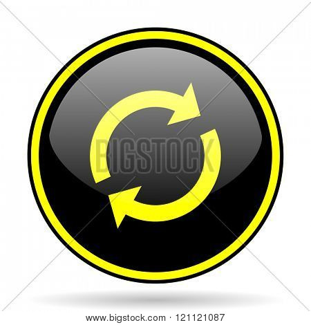 reload black and yellow modern glossy web icon