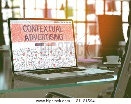 Contextual Advertising Concept on Laptop Screen.