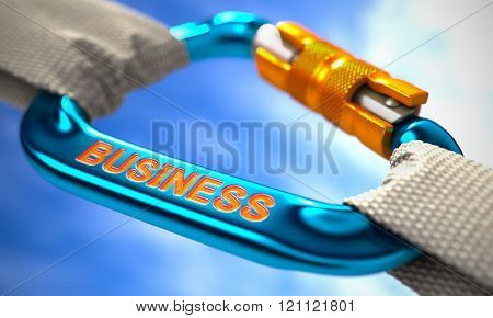 Blue Carabiner Hook with Text Business.