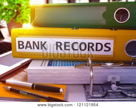 Yellow Ring Binder with Inscription Bank Records.
