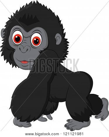 Vector illustration of Cute baby gorilla isolated on white background