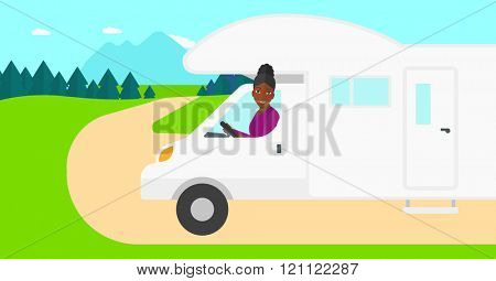 Woman driving motor home.