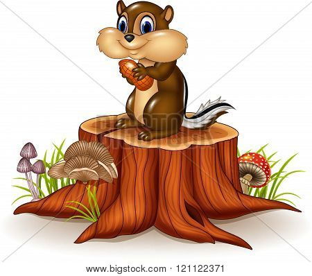 Cartoon chipmunk holding peanut on tree stump