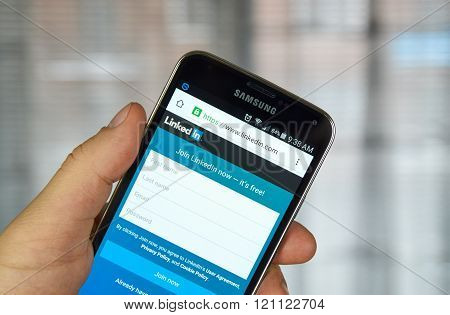 Linkedin Mobile Application On A Cell Phone.