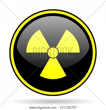 radiation black and yellow modern glossy web icon