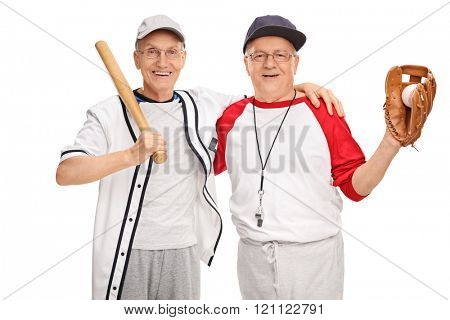 Two senior men in baseball sportswear posing together and smiling isolated on white background