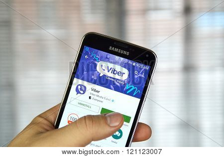 MONTREAL CANADA - MARCH 8 2016 - Viber mobile application on screen of Samsung S5 in hand.