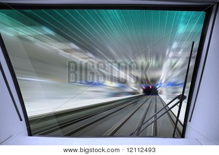 view of high-speed way for train from cabin of machinist