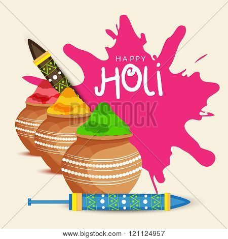 illustration of colorful gulal colors powder filled with mud pot and decorated pichkari for indian festival Happy Holi.