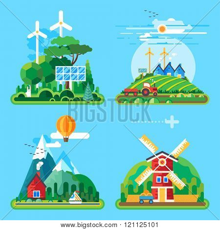 Vector flat illustration - House at the lake. House in the mountains. Wild nature. Ecotourism. Ecology structure. Eco farm. Green energy.