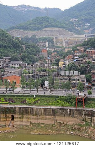 Chongqing, China - June 19, 2015: remote district on hills of city Chongqing, China
