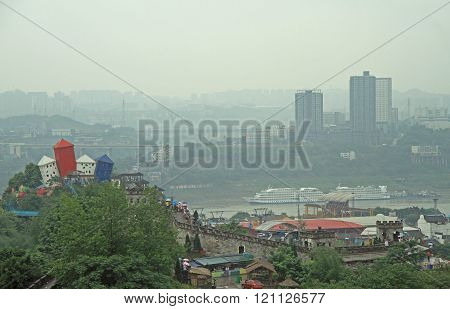 Chongqing, China - June 20, 2015: park amusement on the bank of Yangtze in Chongqing, China