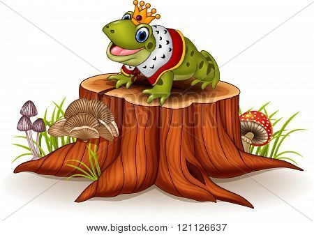 Cartoon funny frog king sitting on tree stump