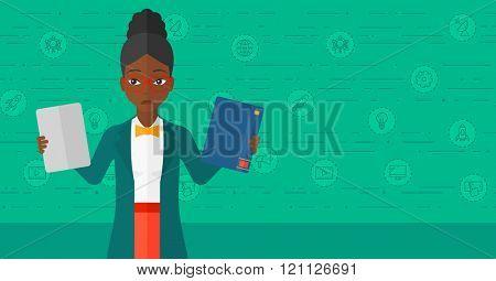 Woman choosing between book and tablet computer.