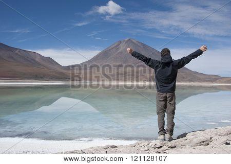 Salar de Uyuni, Laguna Verde, Green lagoon. Bolivia.