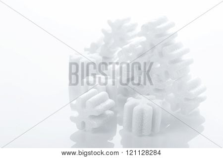 fill packing foam pellets on white background