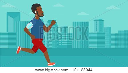 Man jogging with earphones and smartphone.