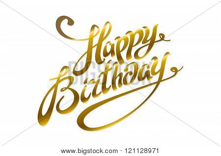Greeting Card For Birthday With Pattern Of Gold Foil Confetti On Watercolor Background