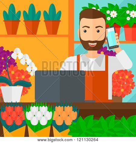 Florist taking order.