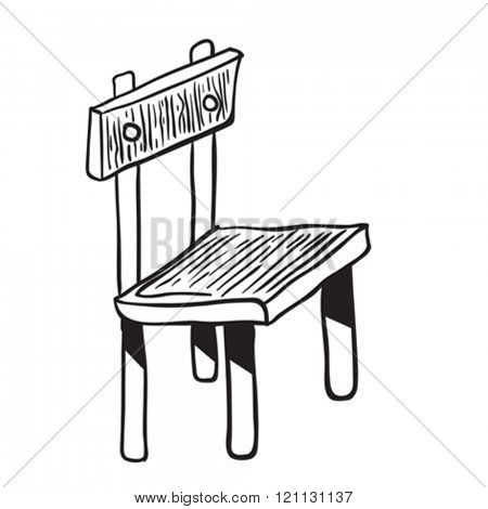 wooden chair doodle cartoon