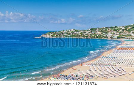 Mediterranean Sea. Wide Public Beach Of Gaeta