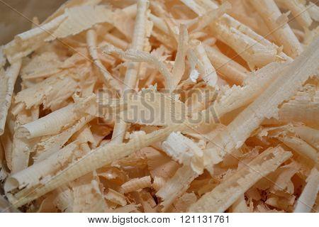 Natural material wood chips - close up