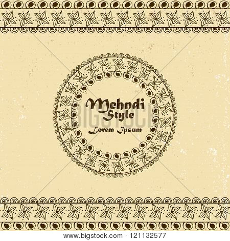 Vector Background With Hand Drawn Borders And Frame In Mehndi Indian Style. Collection Of Pattern Br