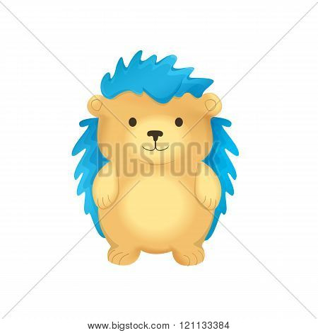 Cute Hedgehog With Blue Spines