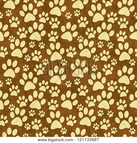 Yellow And Brown Doggy Paw Print Tile Pattern Repeat Background