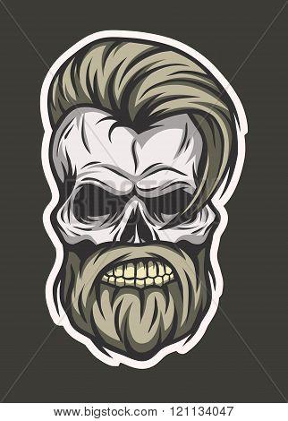Stylish hipster skull. Line art style.