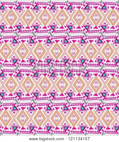 Vector Seamless Texture. Ethnic Tribal Geometric Pattern. Electro Boho Color Trend