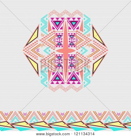 Vector Tribal Decorative Pattern With Border For Design And Fashion. Aztec Ornamental Style. Electro