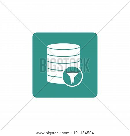 Database-filter Icon, On Green Rectangle Background, White Outline