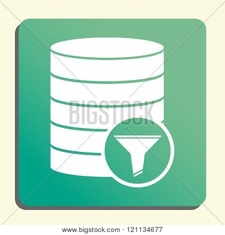 Database-filter Icon, On Button Style Green Background, Yellow Light, Shadow