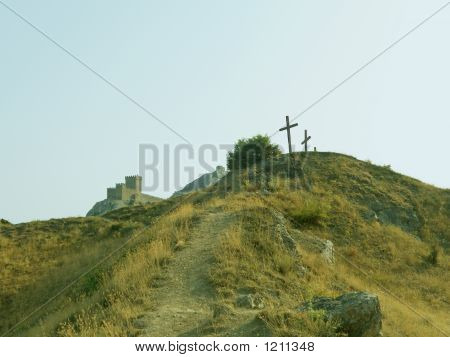Three Crosses On The Hill And Fortress