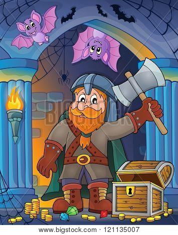Dwarf warrior theme image 2 - eps10 vector illustration.